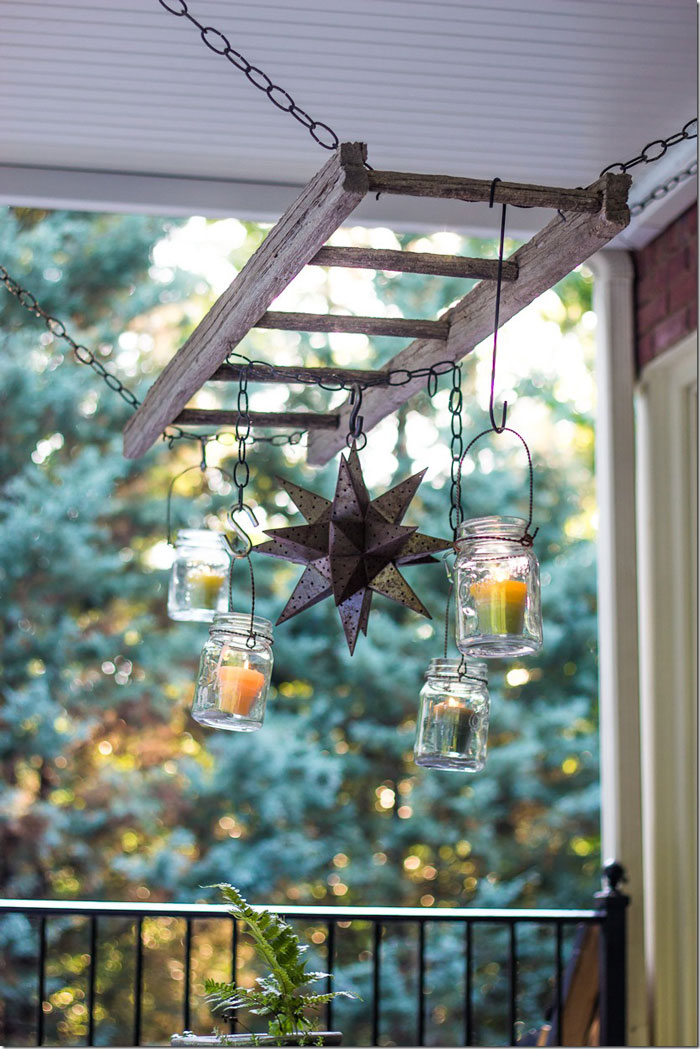 decorating with ladders - patio chandelier