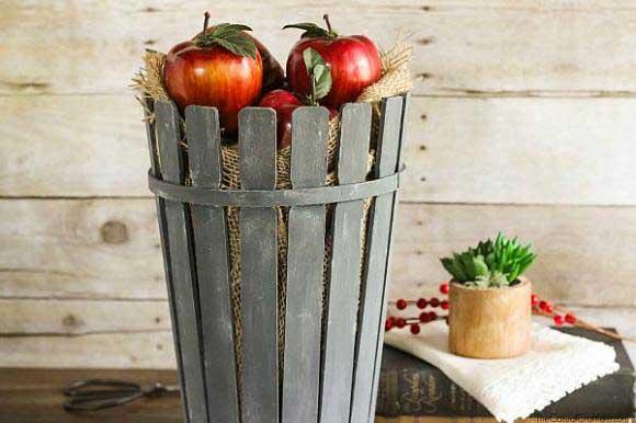 craft project ideas - paint stick bushel basket