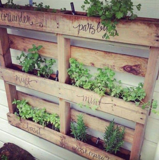 ideas for pallets - herb garden planter box