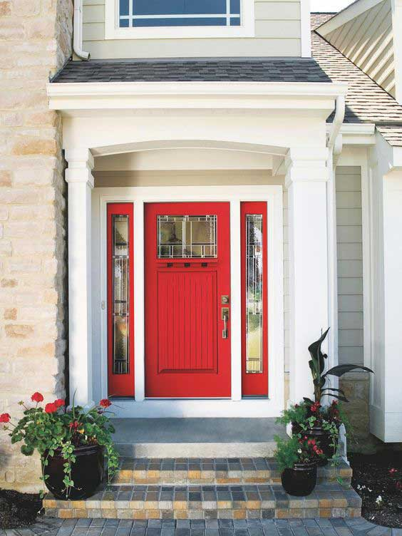 painted front door - red