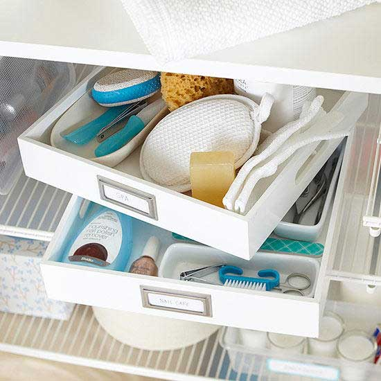 creative ideas to get organized - tray storage