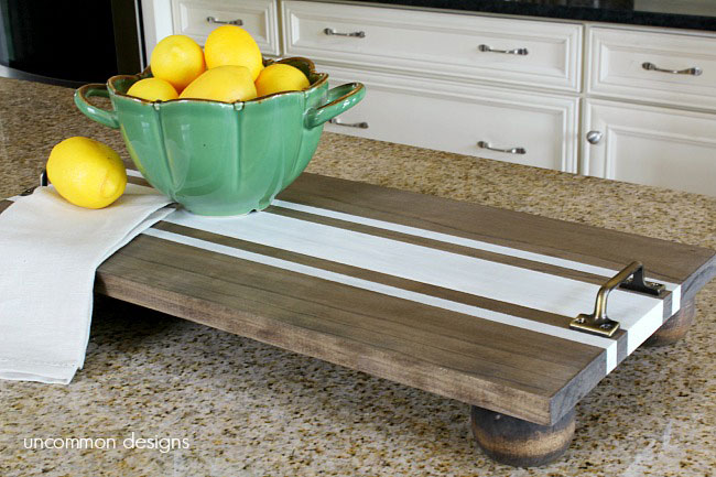 DIY trays - furniture feet and stripes