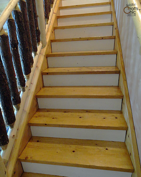 rustic chic decor DIY - painted stair risers white