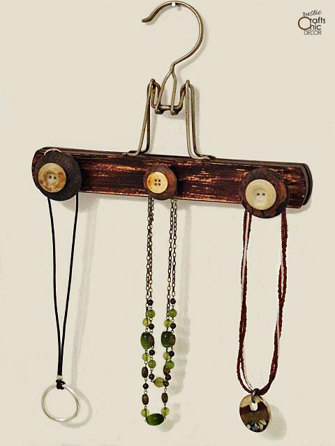 wooden hanger crafts - jewelry holder