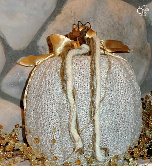 decorated pumpkin covered with a sweater