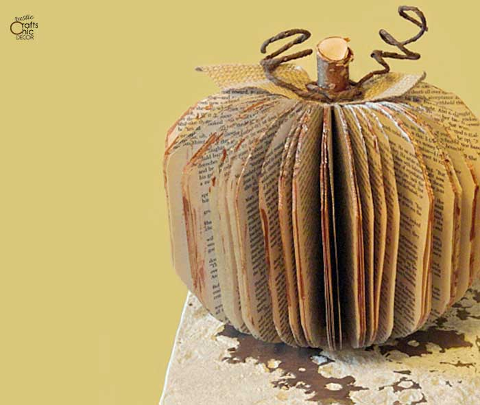 diy pumpkin made from book pages