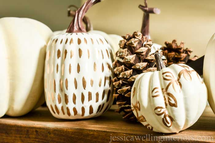 gold leaf painted pumpkins