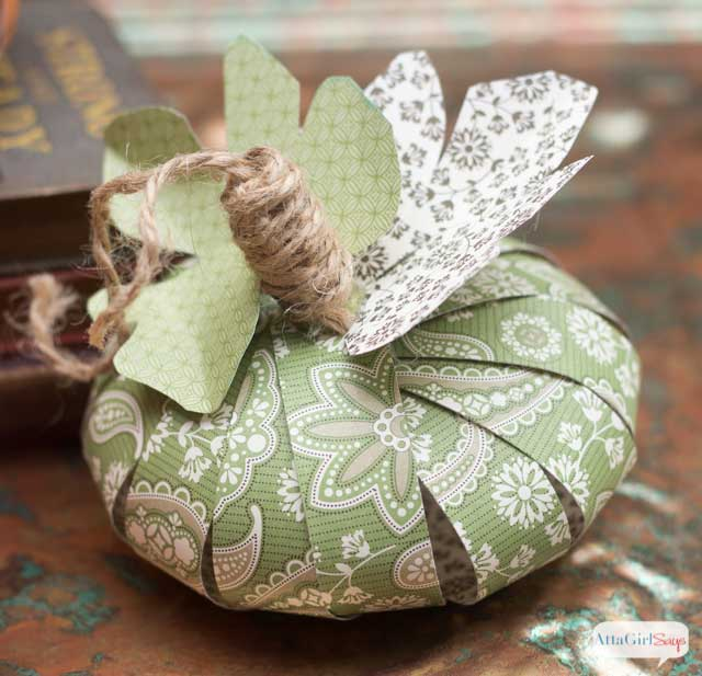 scrap book paper pumpkin craft