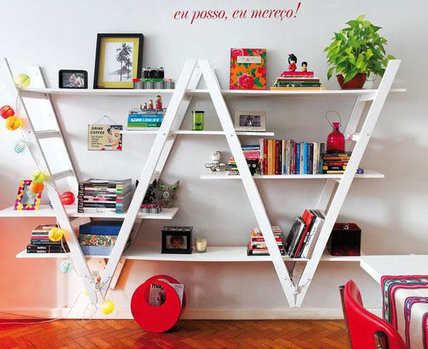 upside down ladder shelves