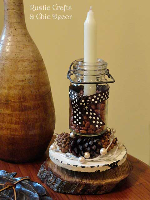 rustic candle holder craft by rustic-crafts.com