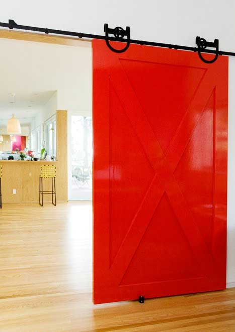 red interior barn door