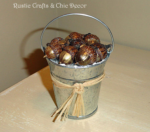 bucket of acorns ornament