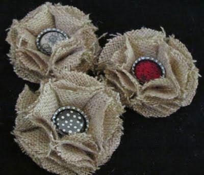 burlap and bottle cap flowers