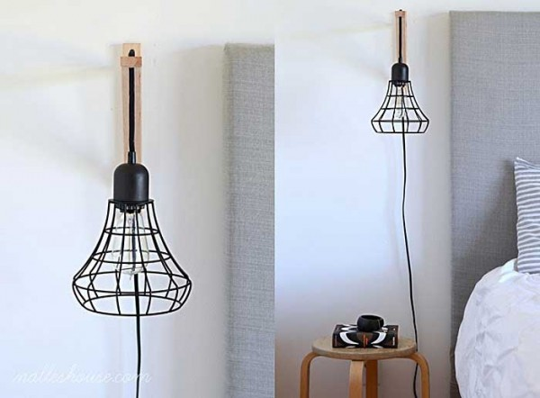diy lighting ideas: cage light sconce
