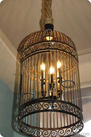 diy lighting ideas: bird cage chandelier