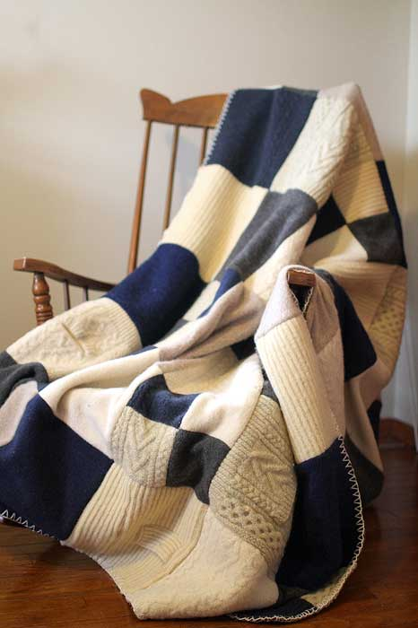 recycled sweater patchwork blanket