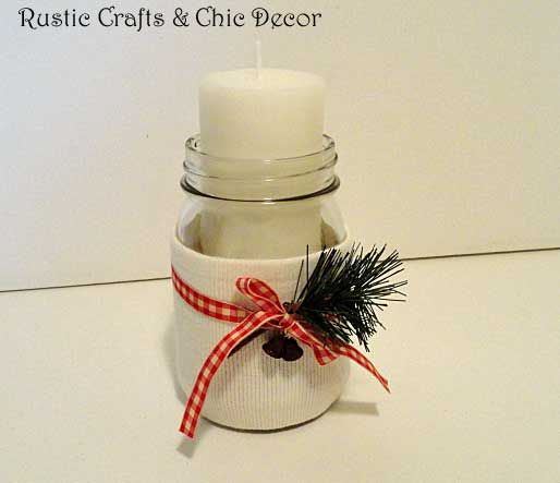recycled sweater crafts mason jar candle holder