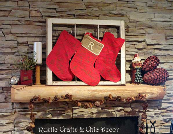 rustic Christmas mantel by rustic-crafts.com