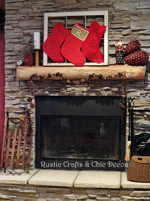 rustic Christmas fireplace by rustic-crafts.com