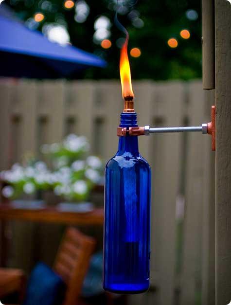 wine bottle outdoor torch