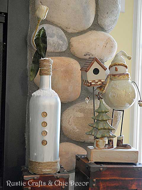 winter wine bottle craft by rustic-crafts.com