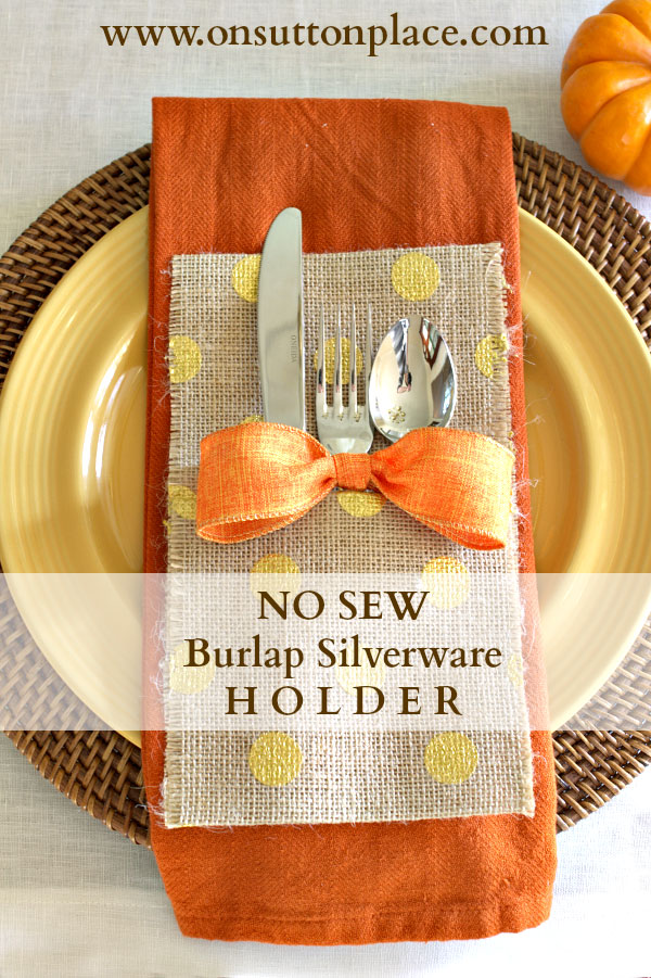 no sew burlap silverware holder