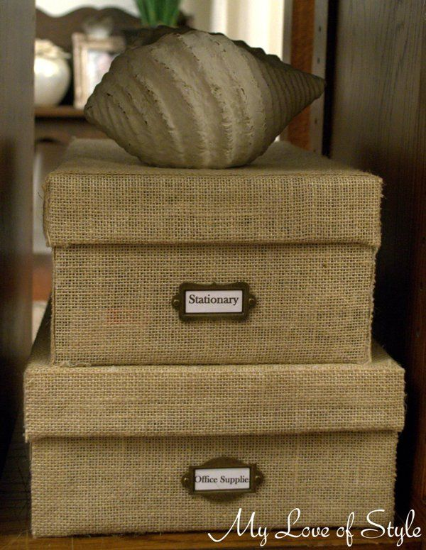 burlap storage boxes