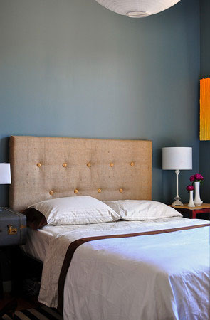 burlap tufted headboard