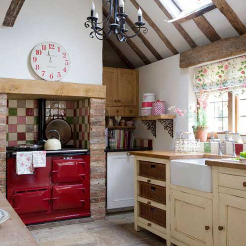 kitchen with red stove