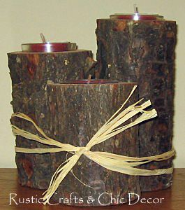 rustic candle holders by rustic-crafts.com