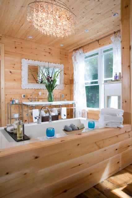 rustic spa tub