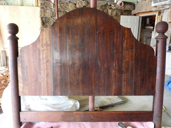 salvaged wood headboard