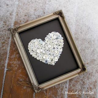 vintage button heart frame