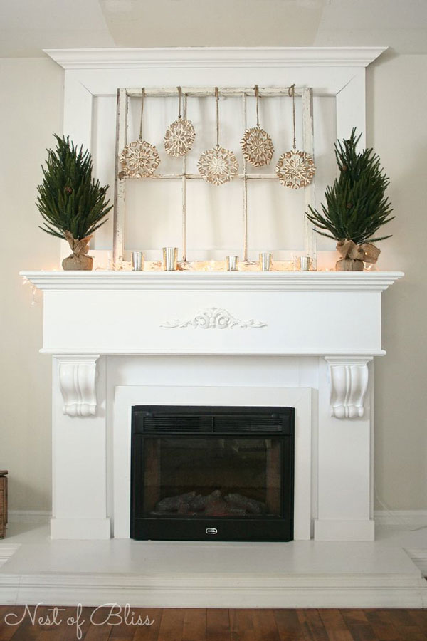 winter mantel with snowflakes