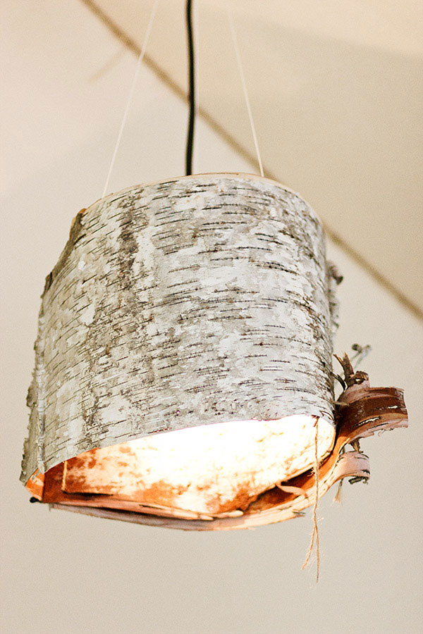 birch crafts for home decor - birch bark lampshade