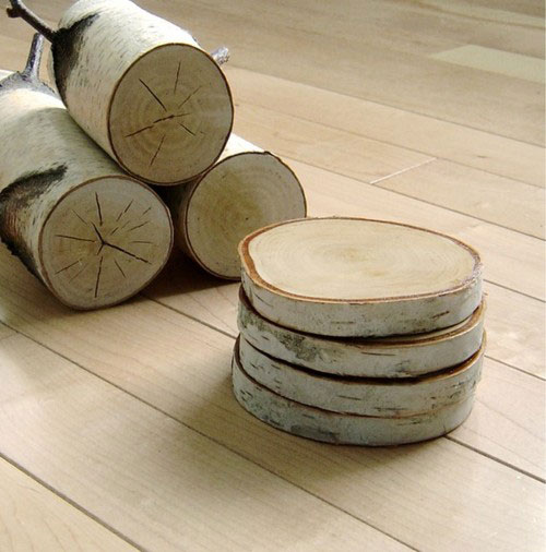 birch crafts for home decor - birch coasters