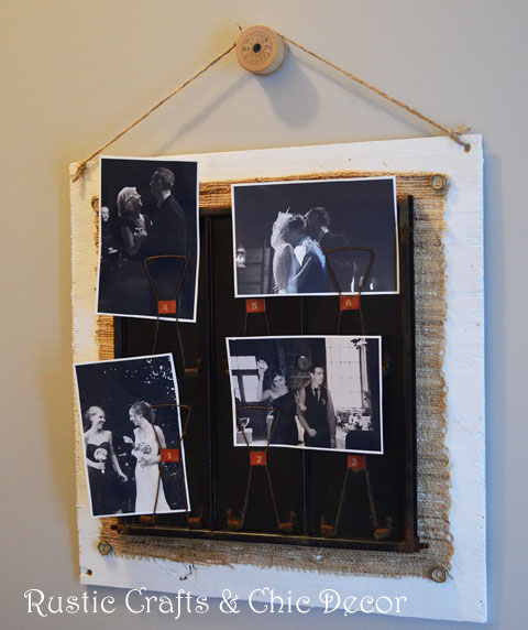 thread spool picture hanger by rustic-crafts.com