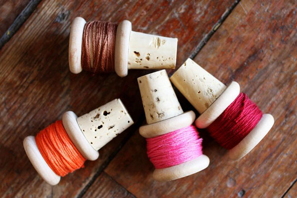 wooden spool wine corks