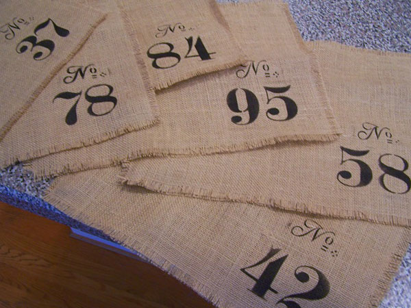 burlap stenciled placemat