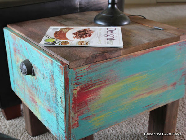 repurposed drawer side table