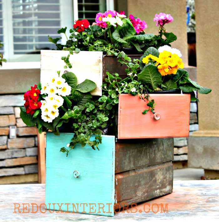 repurposed drawers planter