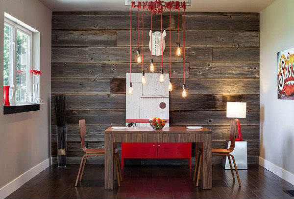 rustic dining wood wall