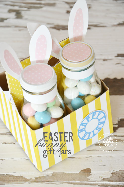 Easter bunny gift jars