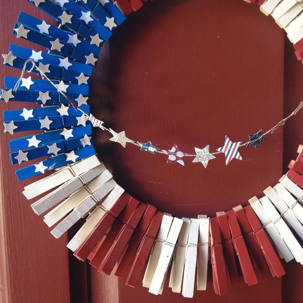 Memorial Day craft clothespin flag