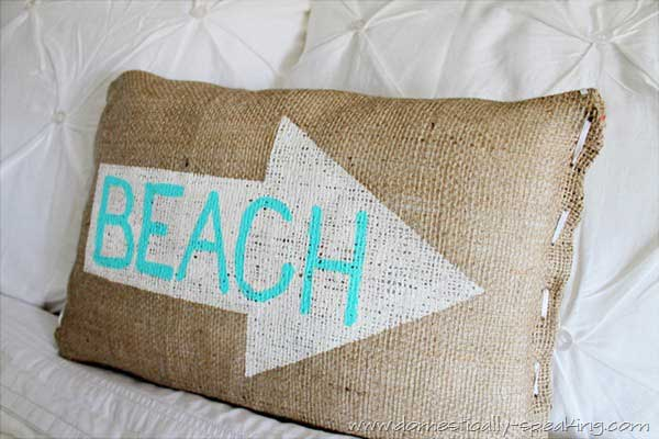 burlap beach pillow