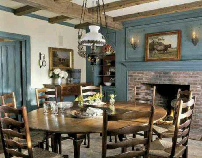 rustic blue dining room