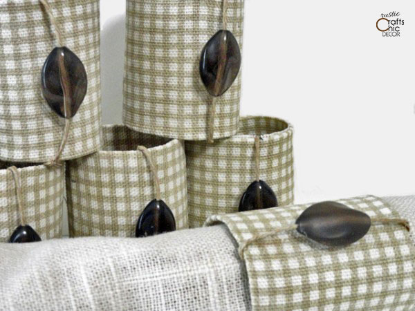 plaid fabric napkin rings with beaded twine