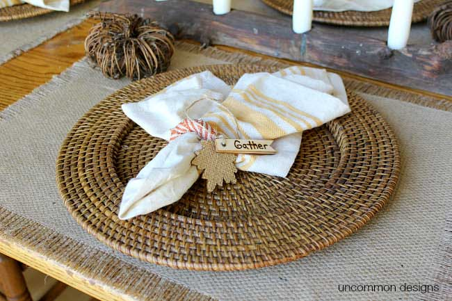 wooden tag napkin rings with woodburned gather