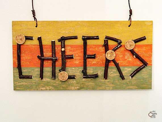 rustic cheers sign craft idea