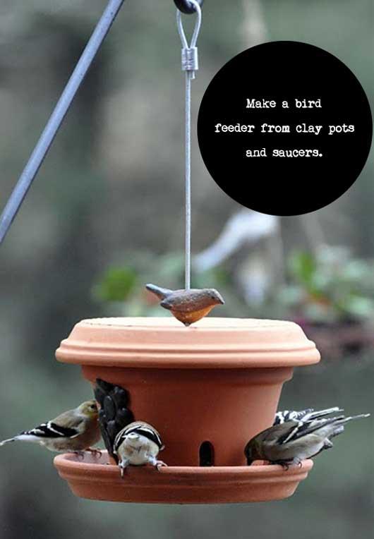 clay pot diy bird feeder